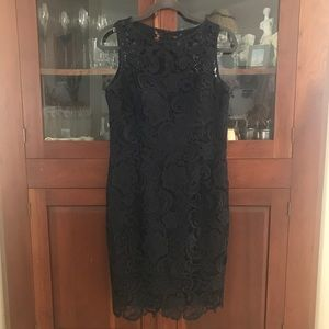 Adrianna Papell navy lace shift dress